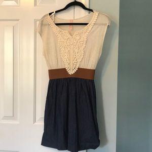 Stylish Cream Lace and Denim Dress